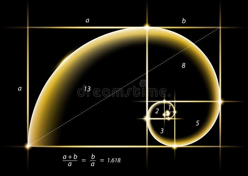 Section d'or avec la lumière d'or de lueur sur le noir illustration libre de droits