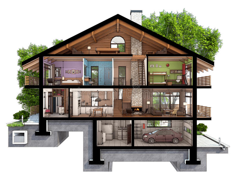 section 3d d'une maison de campagne illustration stock
