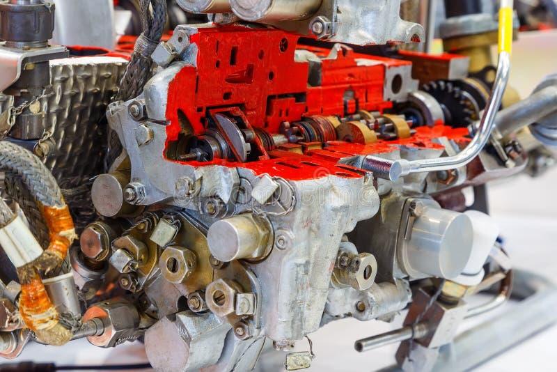 Section d'un moteur moderne noir et blanc image stock