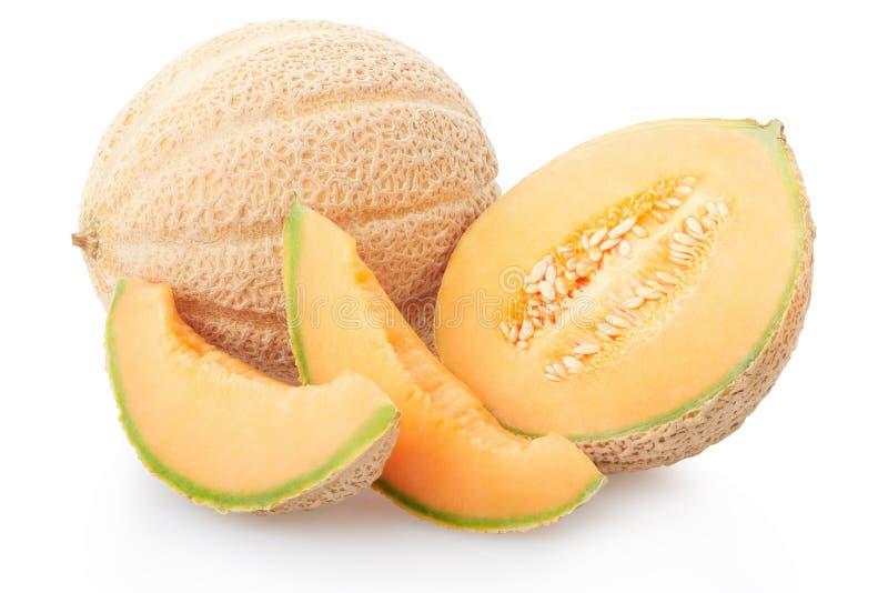 Section de melon de cantaloup et tranches, chemin de coupure images libres de droits