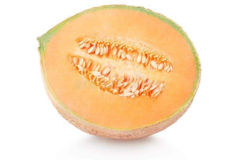 Section de melon de cantaloup sur le blanc images stock