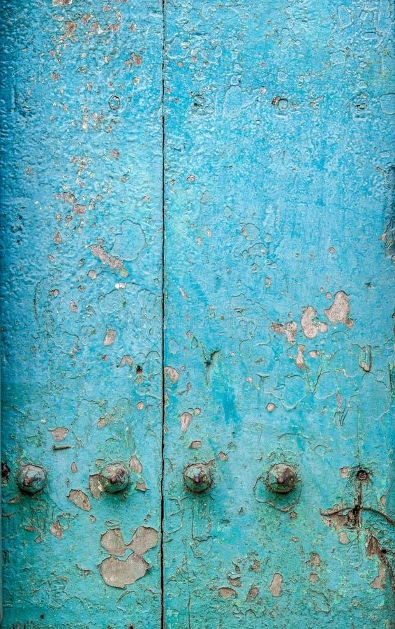Section de vieille porte en bois bleue de Zanzibar, ville en pierre, Zanzibar, Afrique photographie stock libre de droits