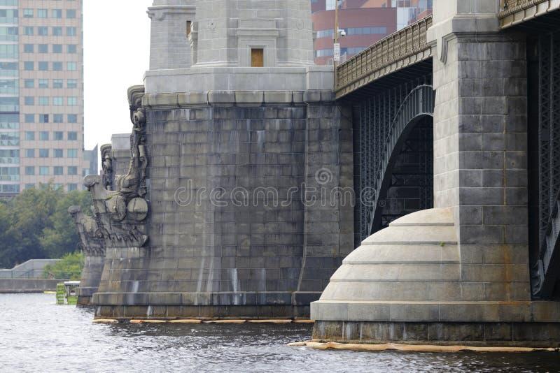 Section du pont de Longfellow à Boston photographie stock libre de droits