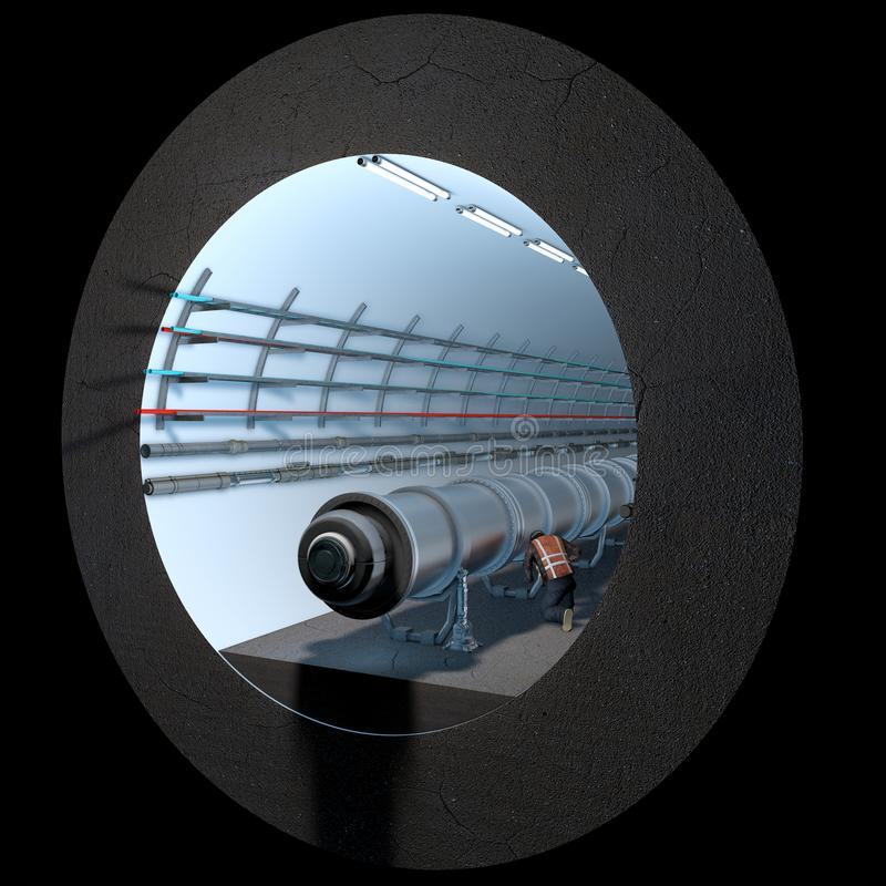Section du tunnel de CERN Organisation européenne pour la recherche nucléaire illustration de vecteur