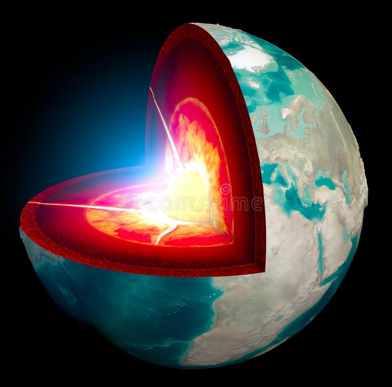 Section of the Earth, globe. Core and soil layers. Earth`s surface and ground section. 3d rendering. Earth on a black background vector illustration