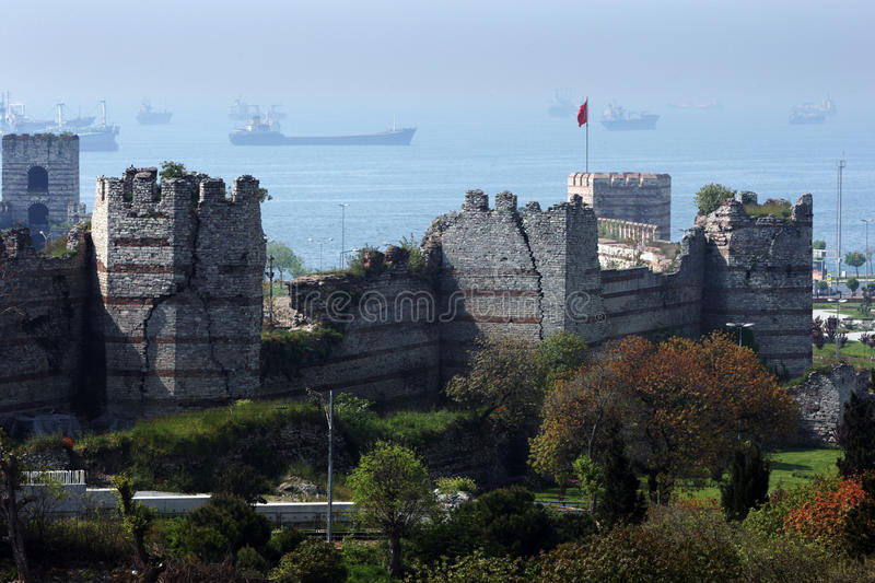 A section of the great city wall surrounding Istanbul in Turkey. royalty free stock photo