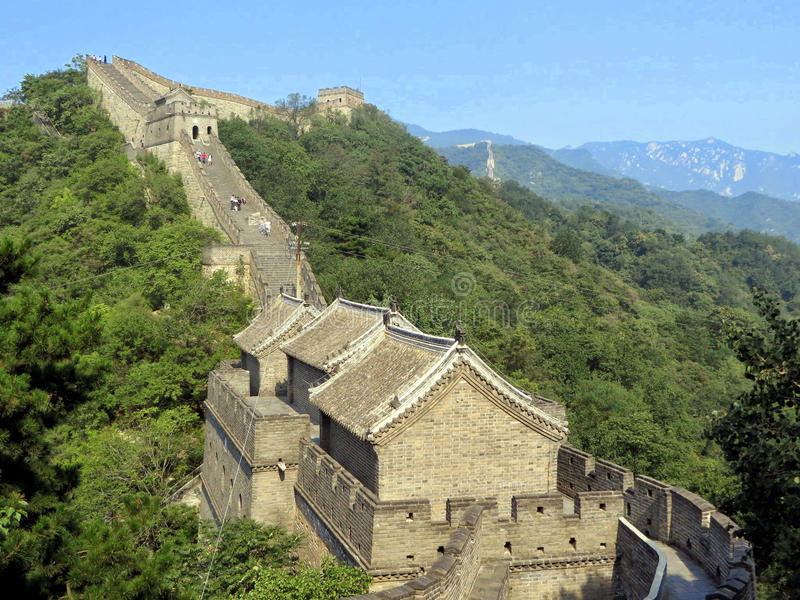 A section of the Great Wall of China one of the seven wonders of the modern world stock image