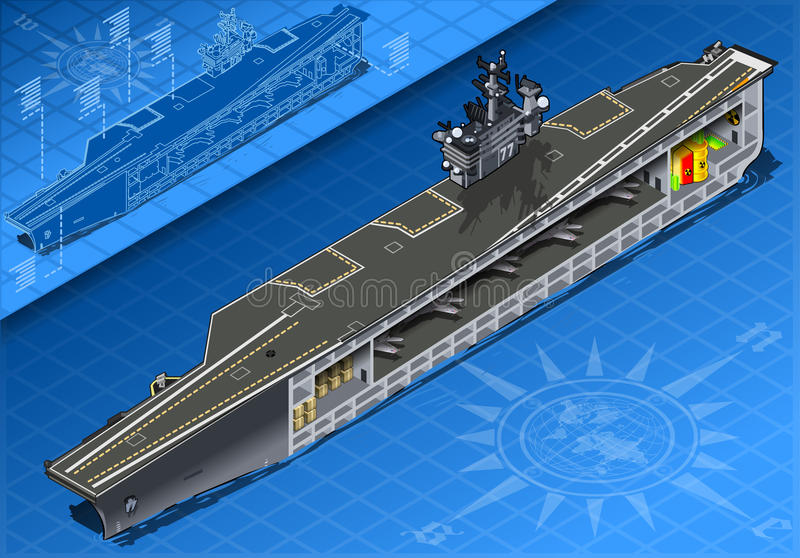 Section of Isometric Aircraft Carrier in Front View stock illustration