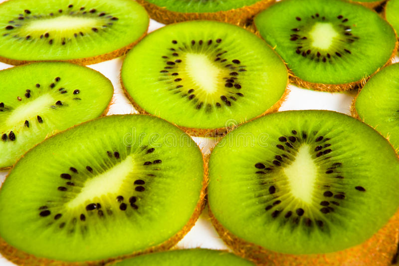 Section of kivi fruit. On white stock photo