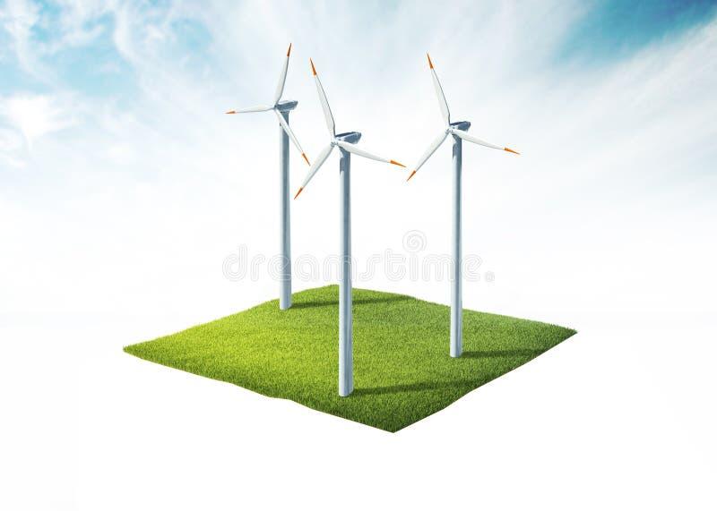 Section transversale de la terre avec la turbine de vent photos stock