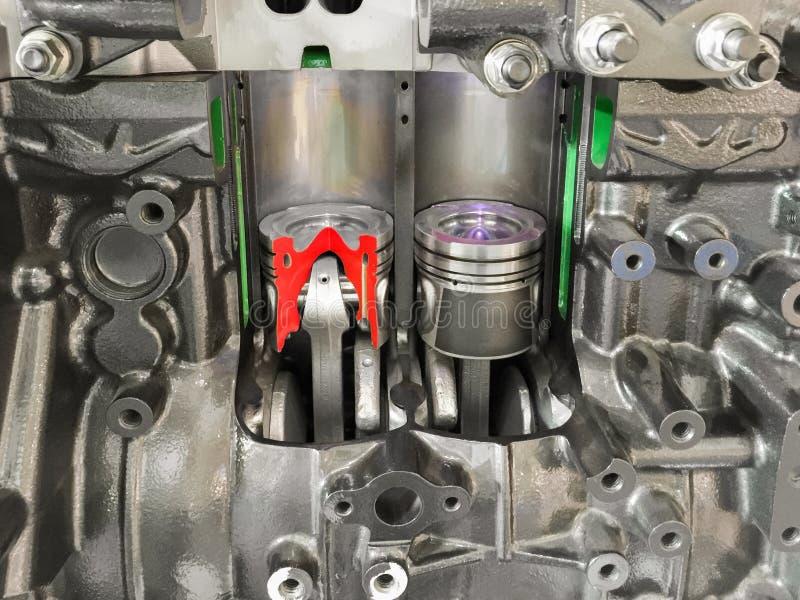 Section transversale de piston de moteur diesel photo stock