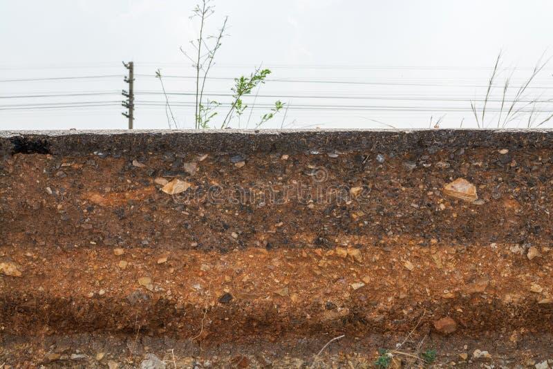 Sectionnez les couches de restriction de sol et basculez Causé par l'effondrement image stock