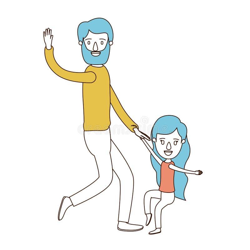 Sections de couleur de caricature et cheveux bleus de père barbu avec la danse de fille illustration de vecteur