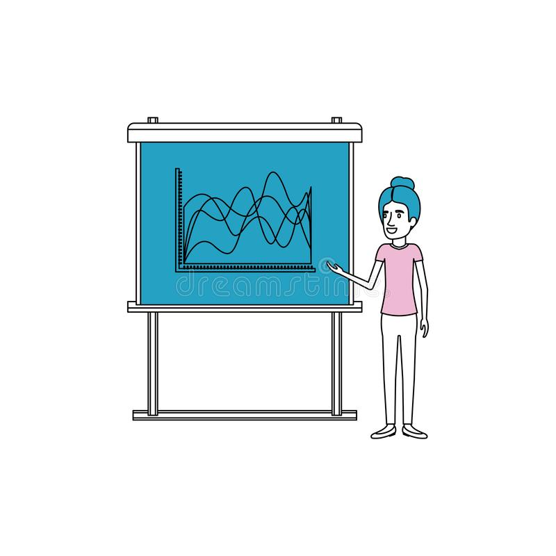 Sections de couleur de silhouette avec la femme d'affaires avec les cheveux rassemblés faisant la présentation illustration de vecteur