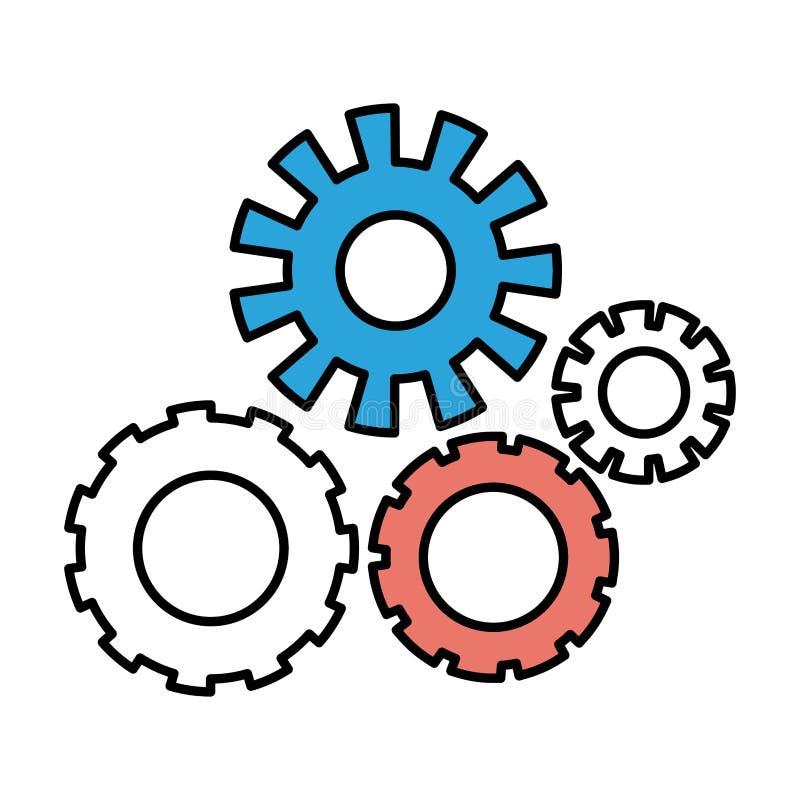Sections de couleur de silhouette d'ensemble de pignons illustration libre de droits