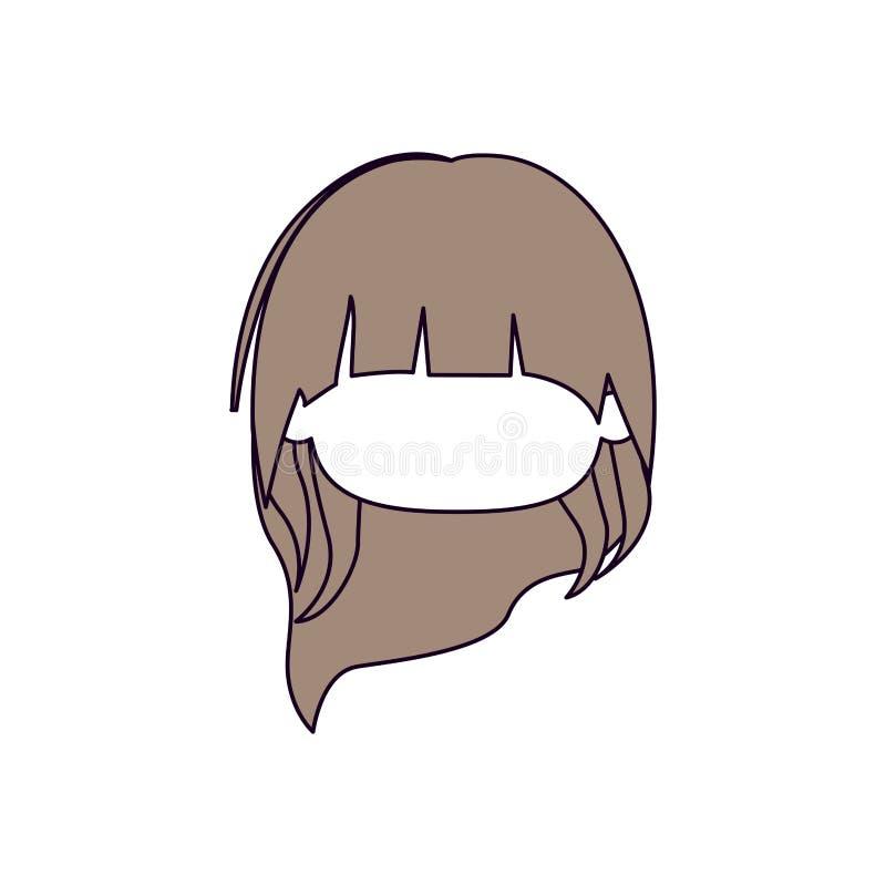 Sections de couleur de silhouette et cheveux brun clair de tête sans visage de peu de fille avec de longs cheveux illustration de vecteur