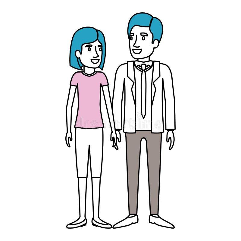 Sections de couleur de silhouette de la position de l'homme et de femme et elle avec les cheveux courts et lui dans le costume fo illustration stock