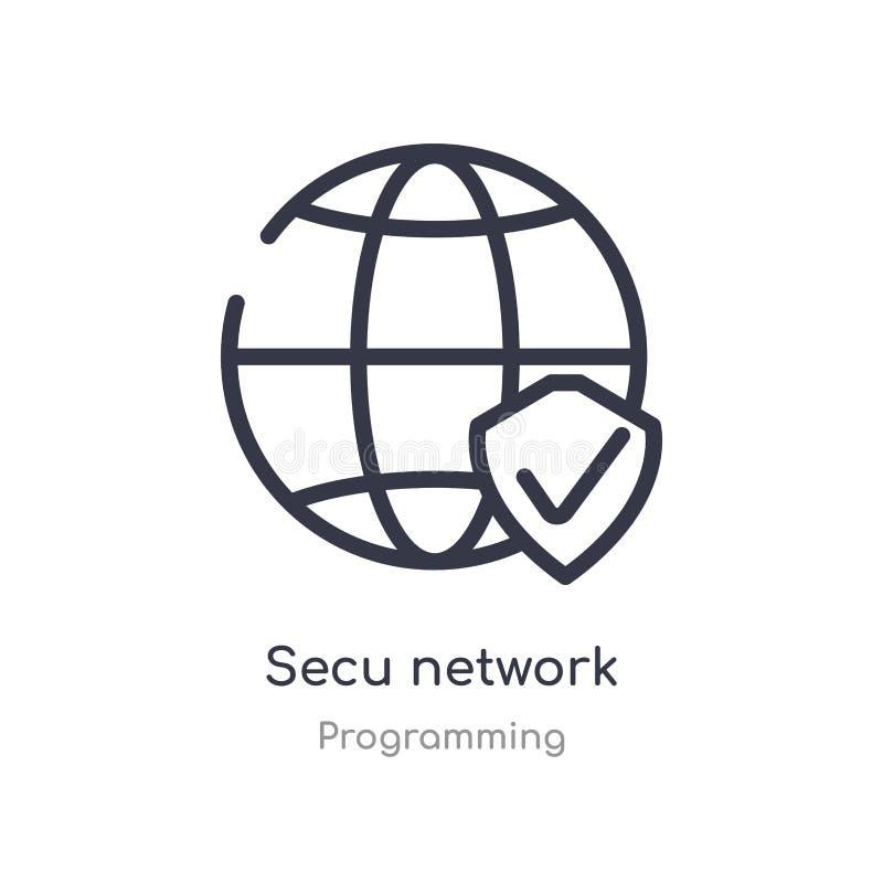 secu Netz-Entwurfsikone lokalisierte Linie Vektorillustration von Programmierungssammlung editable Haarstrich secu Netzikone stock abbildung