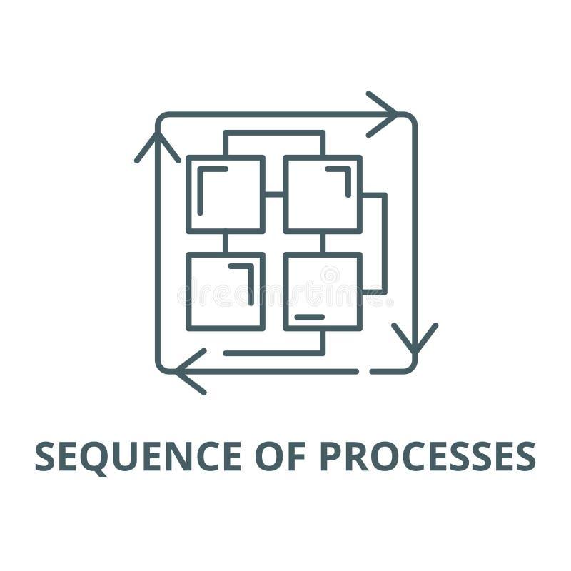 Secuencia de línea icono, concepto linear, muestra del esquema, símbolo del vector de los procesos stock de ilustración