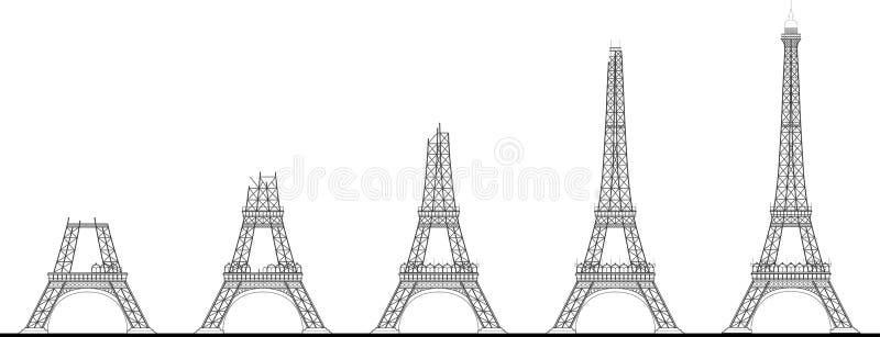 Secuencia de la construcción de la torre Eiffel imagen de archivo libre de regalías