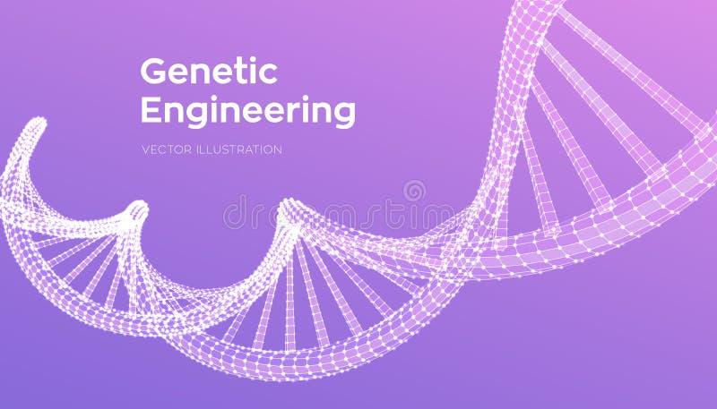 Secuencia de la DNA Malla de la estructura de las mol?culas de la DNA de Wireframe Plantilla editable del c?digo de la DNA Cienci stock de ilustración