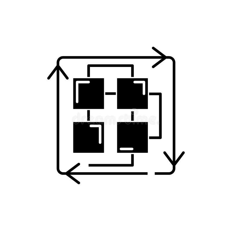Secuencia de procesos icono negro, muestra del vector en fondo aislado Secuencia de símbolo del concepto de los procesos, ejemplo stock de ilustración