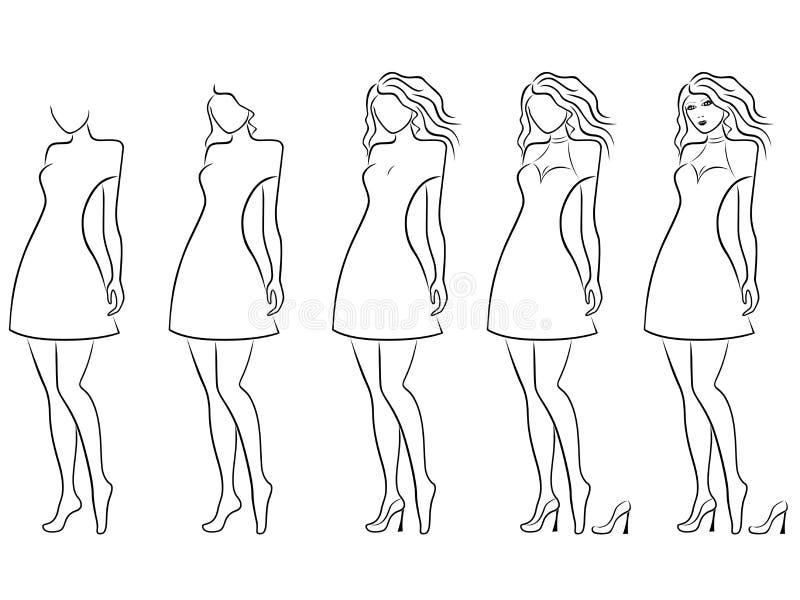 Secuencia disponible de fascinación del dibujo del contorno de las mujeres stock de ilustración