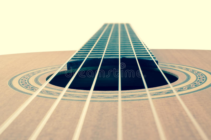 Secuencias de la guitarra, cierre para arriba imagenes de archivo