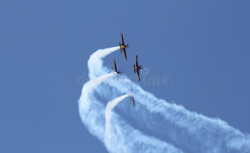 Air show. This is an acrobacy aircraft. The shot was taken at Secuk-Ephesus-Izmir Air Festival. The drop is under record stock image