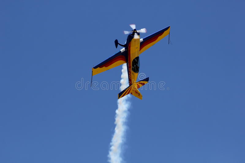 Air show. This is an acrobacy aircraft. The shot was taken at Secuk-Ephesus-Izmir Air Festival. The drop is under record royalty free stock photos