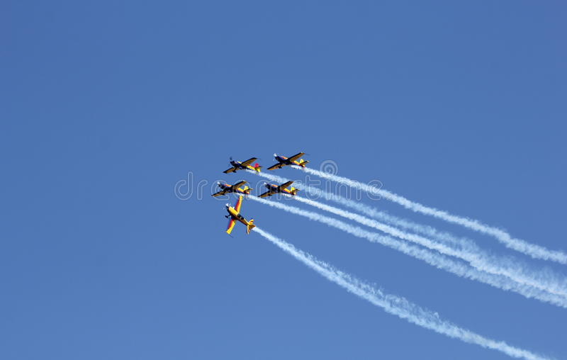 Air fest. This is an acrobacy aircraft. The shot was taken at Secuk-Ephesus-Izmir Air Festival. The drop is under record royalty free stock photos