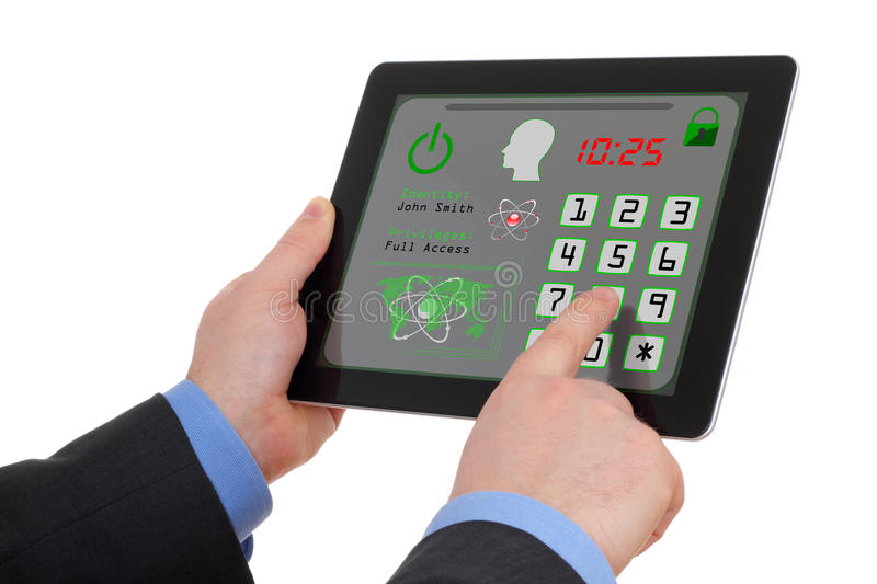 Secure access in tablet. Concept of data security and protection stock photo