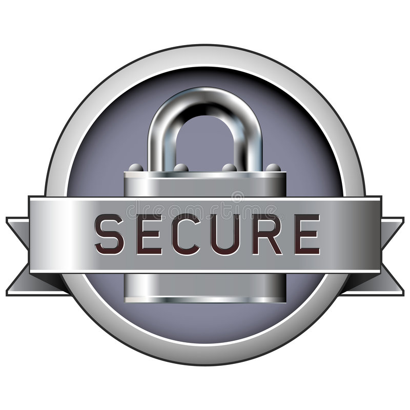 Secure badge for web or print stock illustration