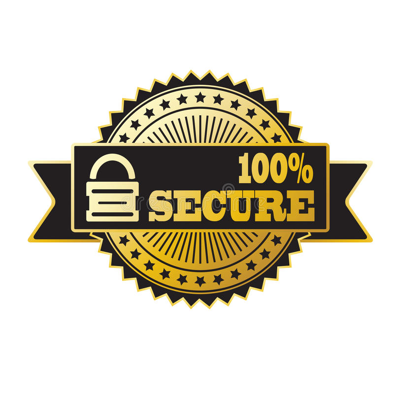 Secure lock gold and black badge royalty free stock photography