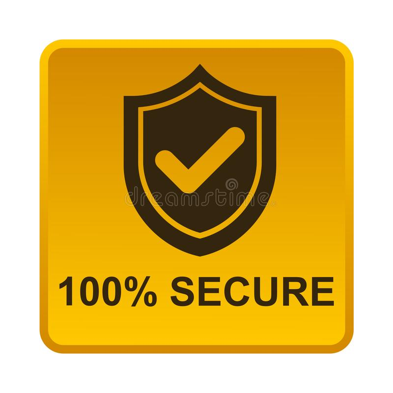 100% secure button stock illustration