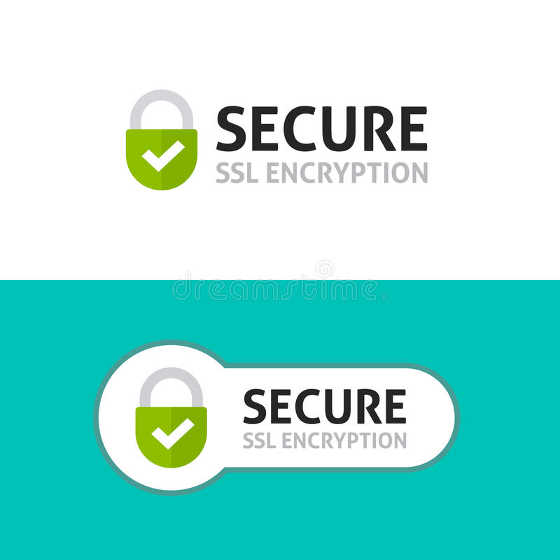 Secure connection icon, secured ssl protected safe data encryption stock illustration