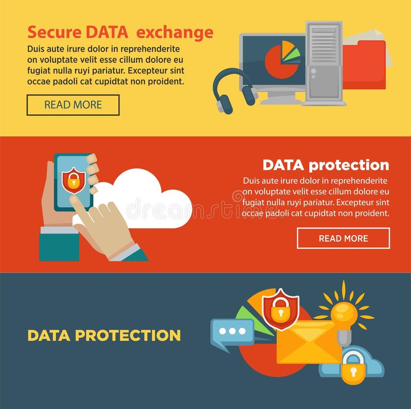Secure data exchange and protection program Internet page with information royalty free illustration
