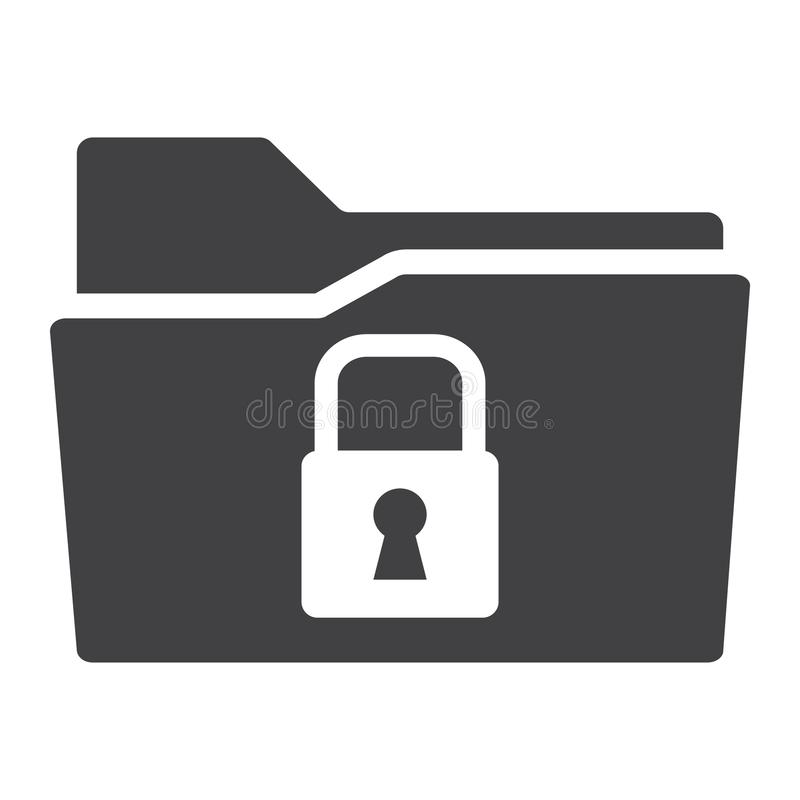 Secure data folder solid icon, security padlock stock illustration
