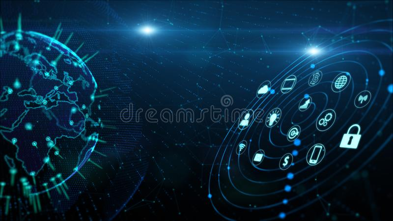 Secure Data Network Digital Data Cyber Security Digital Cyberspace Concept. Earth Element Furnished by Nasa.  stock illustration