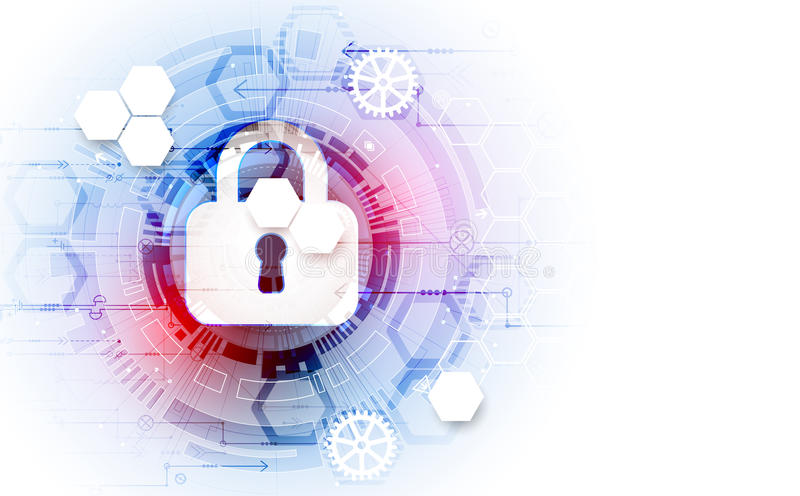 Secure digital space. Virtual confidential, structure point conn. Ection, programming protection, padlock scheme system, vector illustration vector illustration