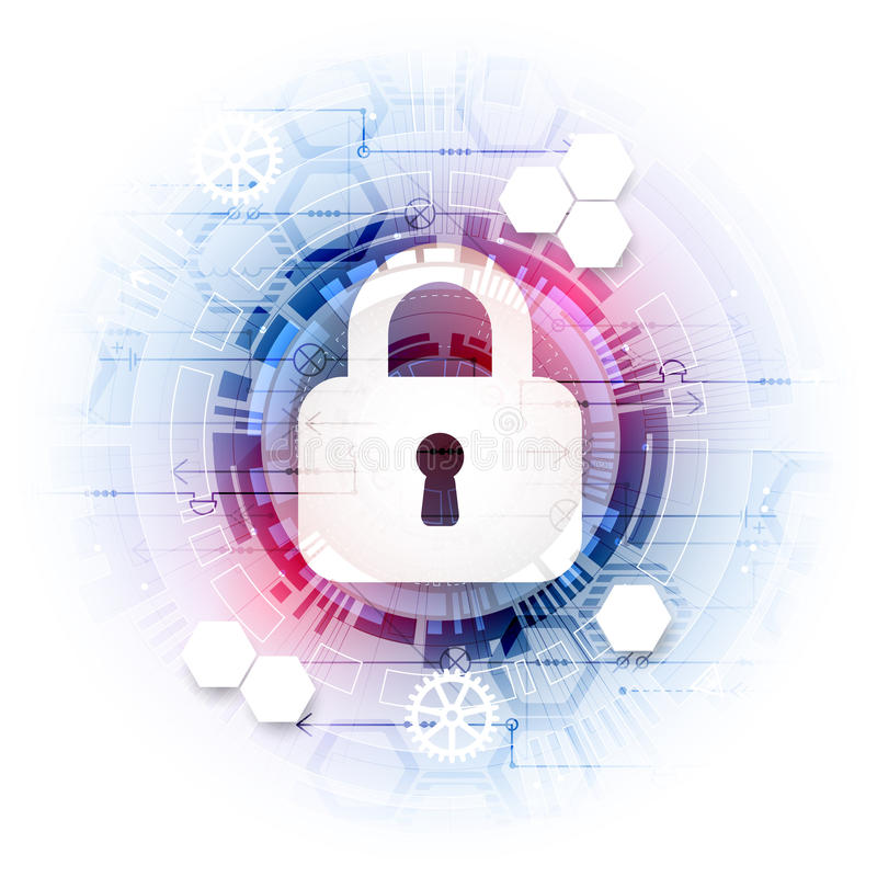 Secure digital space. Virtual confidential, structure point conn. Ection, programming protection, padlock scheme system, vector illustration stock illustration