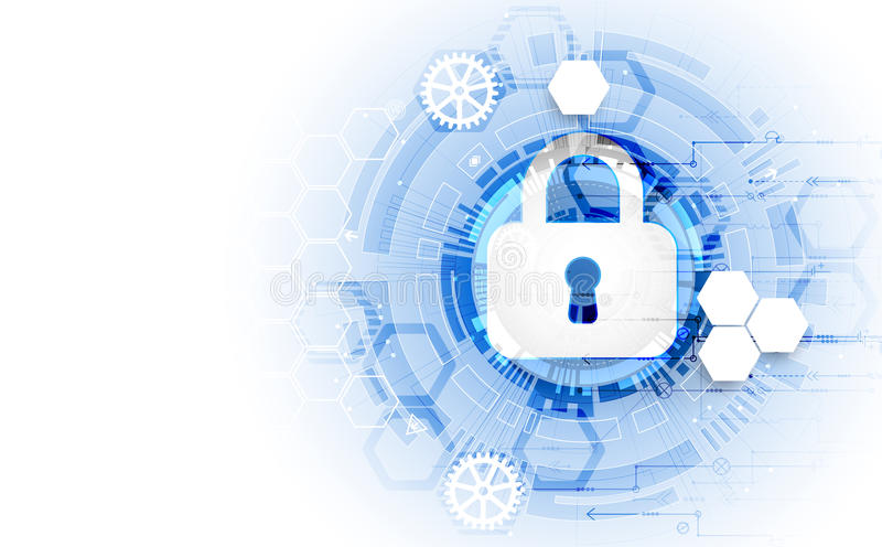 Secure digital space. Virtual confidential, structure point conn. Ection, programming protection, padlock scheme system, vector illustration royalty free illustration