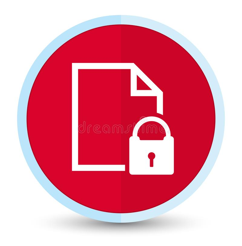 Secure document icon flat prime red round button royalty free illustration
