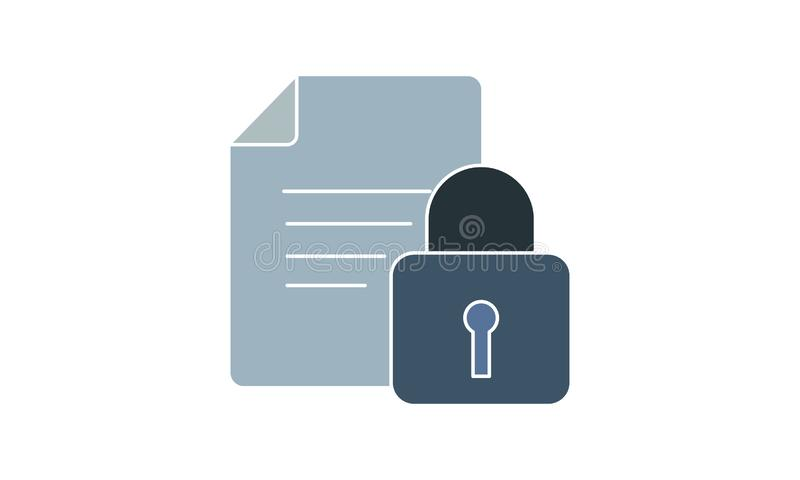 Secure document icon vector, illustration logo template in trendy style. Can be used for many purposes. royalty free illustration