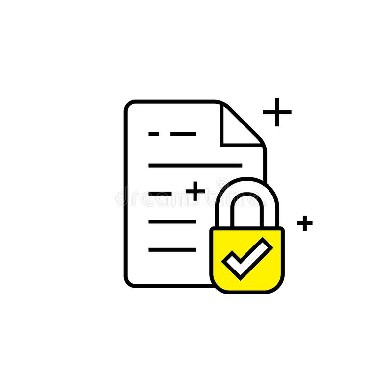 Secure document line icon stock illustration