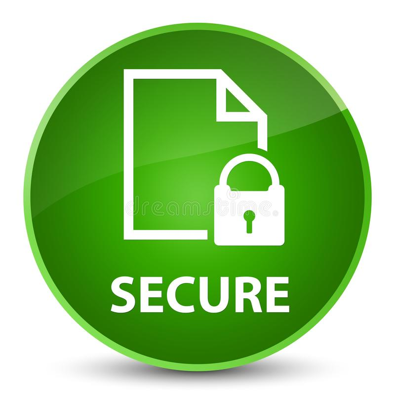 Secure (document page padlock icon) elegant green round button royalty free illustration