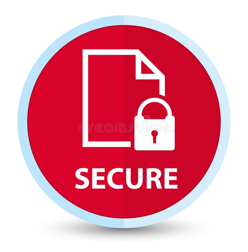 Secure (document page padlock icon) flat prime red round button royalty free illustration