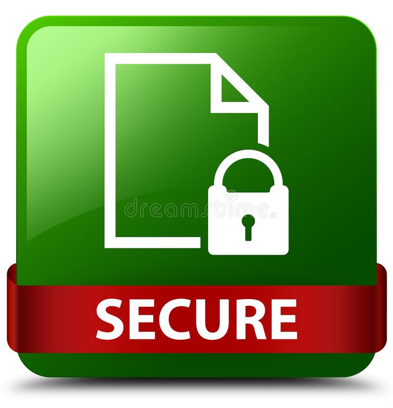 Secure (document page padlock icon) green square button red ribbon in middle royalty free illustration