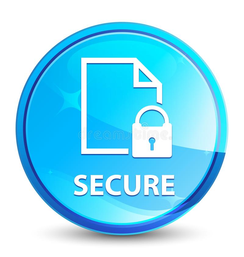 Secure (document page padlock icon) splash natural blue round button vector illustration