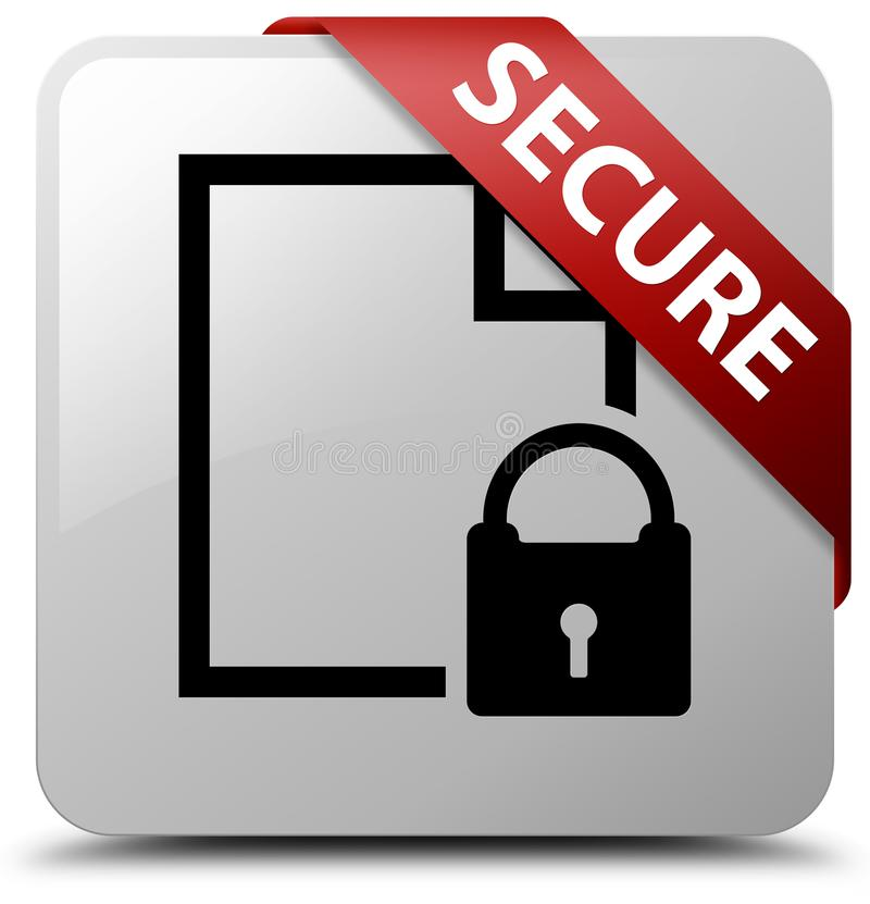 Secure (document page padlock icon) white square button red ribbon in corner royalty free illustration